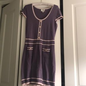 Sweet lavender short-sleeve sweater mini dress
